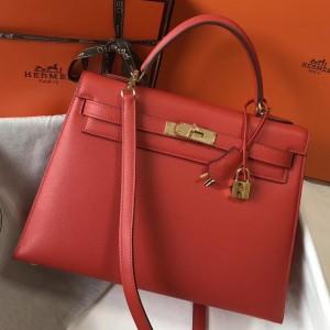 Hermes Red Epsom Kelly 32cm Sellier Bag
