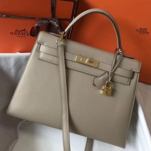 Hermes Grey Epsom Kelly 32cm Sellier Bag