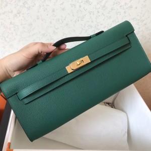 Hermes Malachite Epsom Kelly Cut Handmade Bag
