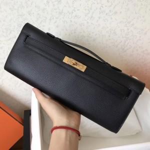 Hermes Black Epsom Kelly Cut Handmade Bag