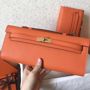 Hermes Orange Epsom Kelly Cut Handmade Bag