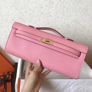 Hermes Pink Epsom Kelly Cut Handmade Bag