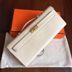 Hermes White Epsom Kelly Cut Handmade Bag