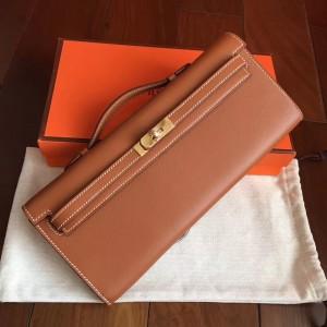 Hermes Gold Swift Kelly Cut Handmade Bag