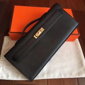 Hermes Black Swift Kelly Cut Handmade Bag