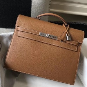 Hermes Kelly Depeche 34 Briefcase In Brown Calfskin