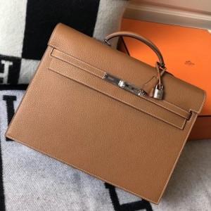 Hermes Kelly Depeche 38 Briefcase In Brown Calfskin
