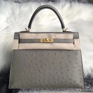 Hermes Gris Asphalt Ostrich Kelly 25cm Handmade Bag