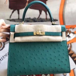 Hermes Vert Vertigo Ostrich Kelly 25cm Handmade Bag