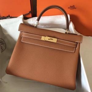 Hermes Gold Clemence Kelly 28cm Handmade Bag