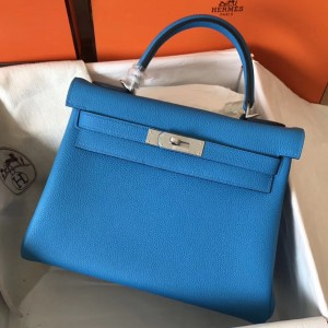 Hermes Blue Zanzibar Clemence Kelly 28cm Handmade Bag