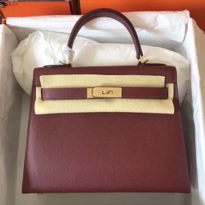 Hermes Bordeaux Epsom Kelly 28cm Handmade Bag