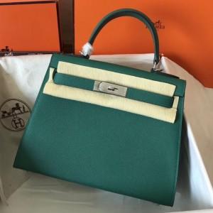 Hermes Malachite Epsom Kelly 28cm Handmade Bag