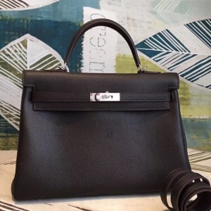 Hermes Cafe Clemence Kelly 35cm Handmade Bag