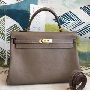 Hermes Taupe Clemence Kelly 35cm Handmade Bag