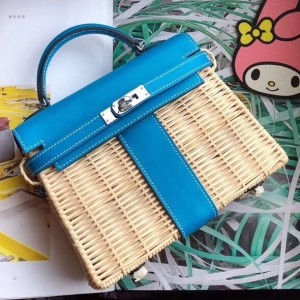 Hermes Blue Picnic Kelly Mini 20cm Wicker Bag