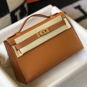 Hermes Kelly Pochette Bag In Gold Epsom Leather