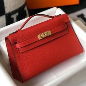 Hermes Kelly Pochette Bag In Red Epsom Leather