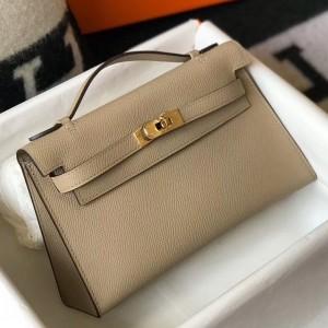 Hermes Kelly Pochette Bag In Gris Tourterelle Epsom Leather