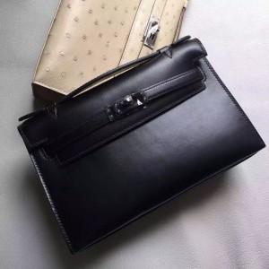 Hermes So Black Kelly Pochette Box Leather Bag