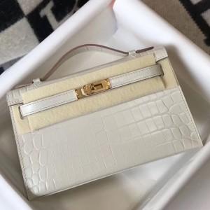 Hermes Kelly Pochette Bag In White Embossed Crocodile Leather