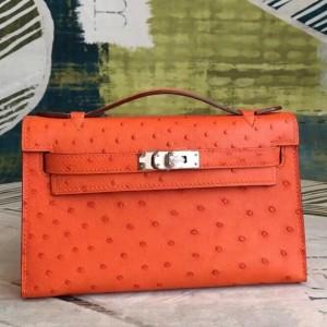 Hermes Orange Kelly Pochette Ostrich Handmade Bag