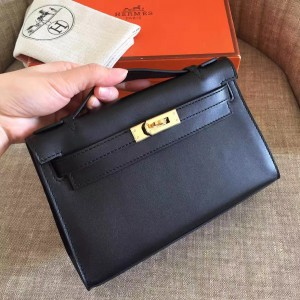 Hermes Black Kelly Pochette Swift Handmade Bag