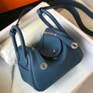 Hermes Mini Lindy Bag In Blue Agate Clemence Leather