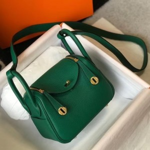 Hermes Mini Lindy Bag In Green Clemence Leather