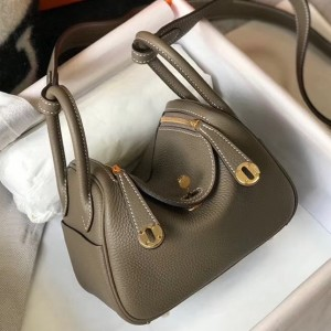 Hermes Mini Lindy Bag In Taupe Clemence Leather