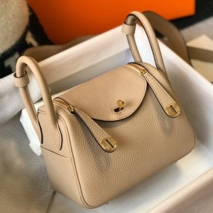 Hermes Mini Lindy Bag In Trench Clemence Leather
