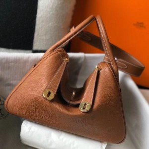 Hermes Lindy 26cm Bag In Gold Clemence With GHW