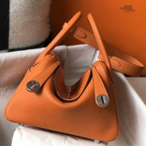 Hermes Lindy 26cm Bag In Orange Clemence With PHW