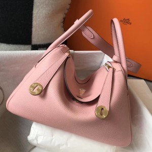 Hermes Lindy 26cm Bag In Pink Clemence With GHW