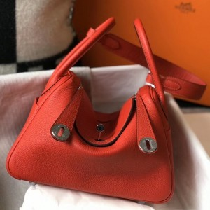 Hermes Lindy 26cm Bag In Red Clemence With PHW