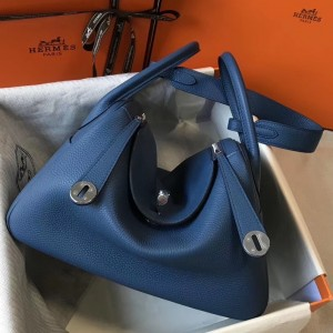 Hermes Lindy 30cm Bag In Blue Agate Clemence Leather