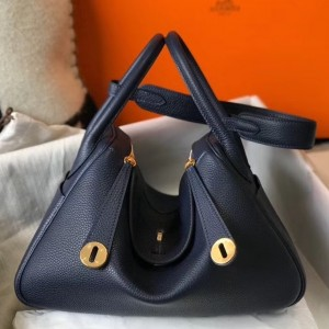 Hermes Lindy 30cm Bag In Navy Blue Clemence Leather