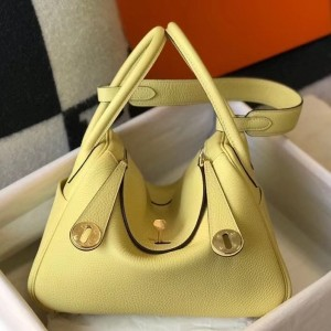 Hermes Lindy 30cm Bag In Jaune Poussin Clemence Leather