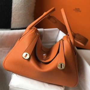 Hermes Lindy 30cm Bag In Orange Clemence Leather
