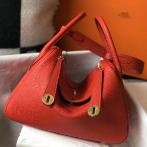 Hermes Lindy 30cm Bag In Red Clemence Leather