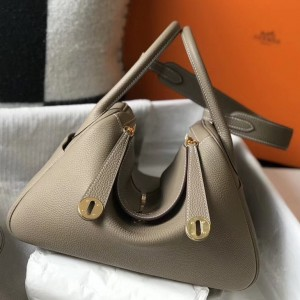 Hermes Lindy 30cm Bag In Grey Clemence Leather