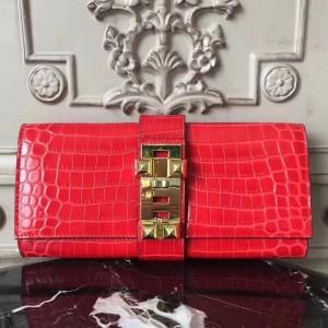 Hermes Medor Clutch Bag In Cherry Crocodile Leather
