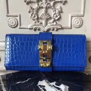 Hermes Medor Clutch Bag In Blue Crocodile Leather