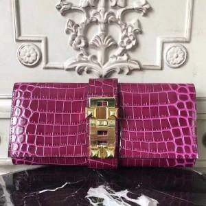 Hermes Medor Clutch Bag In Fuchsia Crocodile Leather