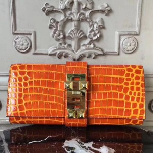 Hermes Medor Clutch Bag In Orange Crocodile Leather