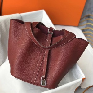 Hermes Picotin Lock 18 Bag In Bordeaux Clemence Leather