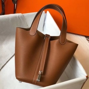 Hermes Picotin Lock 18 Bag In Gold Clemence Leather