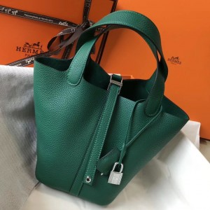 Hermes Picotin Lock 18 Bag In Vert Vertigo Clemence Leather