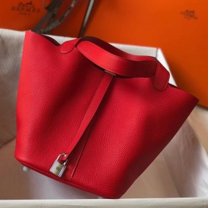 Hermes Picotin Lock 18 Bag In Red Clemence Leather
