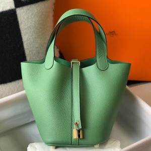 Hermes Picotin Lock 18 Bag In Vert Criquet Clemence Leather